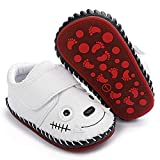 HsdsBebe Baby Boys Girls Pu Leather Hard Bottom Walking Sneakers Toddler Rubber Sole First Walkers Infant Cartoon Slippers Crib Shoes(Wolf White,2)