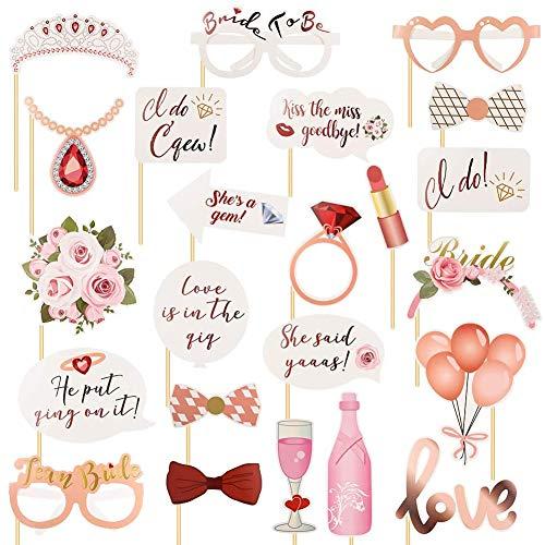 SIMUER 23 PCS Photo Booth Matrimonio, Accessor Foto Props per Matrimoni Gioco Divertente per la Festa della Gallina - Rosa Dorato