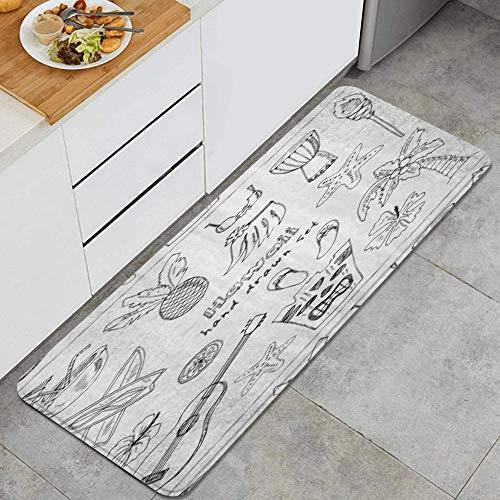 PATINISA Alfombra de Cocina,Símbolos e Iconos de Hawaii Falda de Hula Chanclas de Palma Coco Ukelele,Antideslizante Estera Cocina Lavable Alfombrillas Absorbentes Pasillo alfombras,120x45cm