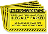 No Parking Violation Stickers Hard to Remove (50-Pack Yellow) Towing Tags for Illegally Parked Vehicles in Your Lot - Super Sticky Car Permit Notices for Bad or Careless Parking 8' x 5' by MESS