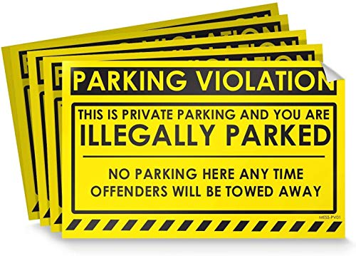 Parking Violation Stickers for Cars (Fluorescent Yellow) - 25 No Parking Illegally Parked Cars in Private Parking Areas/Hard to Remove Super Sticky No Park Tow Warnings 8� x 5� by MESS