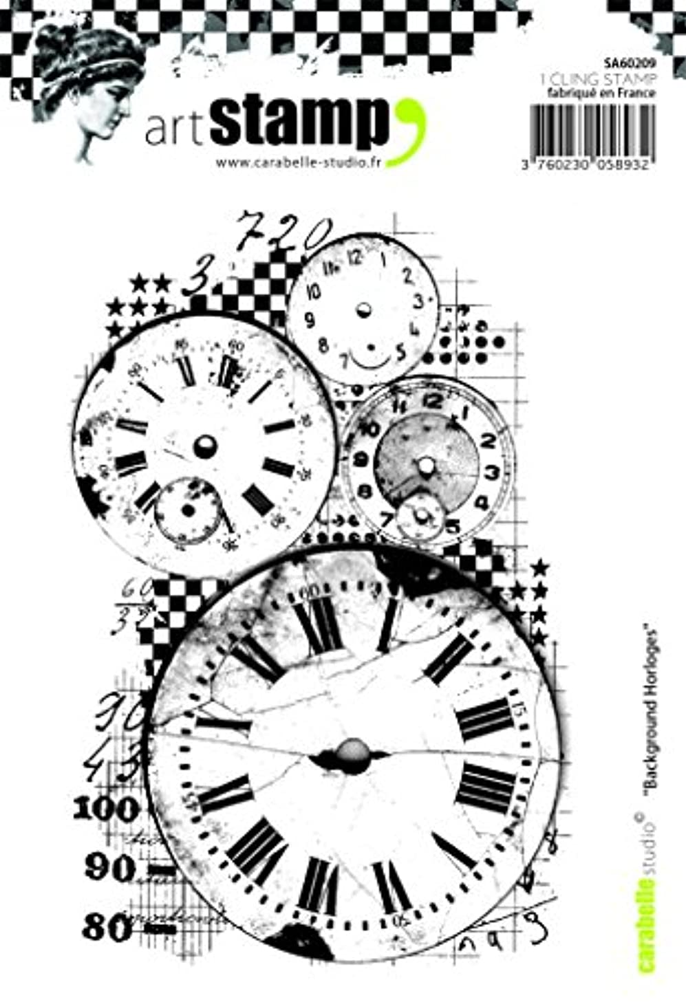 Carabelle Studio A6 Cling Stamp-Background Clocks, Rubber White/Transparent