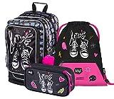 Schulrucksack Set Mädchen 3 Teilig - Schultasche ab 3. Klasse - Grundschule Ranzen mit Brustgurt - Ergonomischer Schulranzen (Turnschuhe)