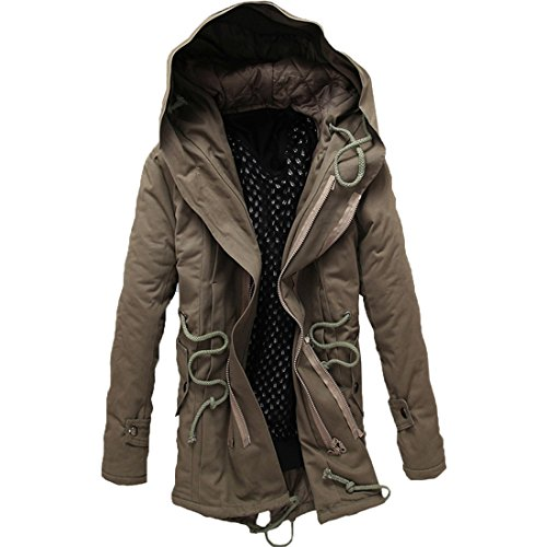 GWELL Męski płaszcz zimowy, długi płaszcz z kapturem z bawełny, płaszcz przejściowy, parka, płaszcz pikowany, swobodny, duże rozmiary