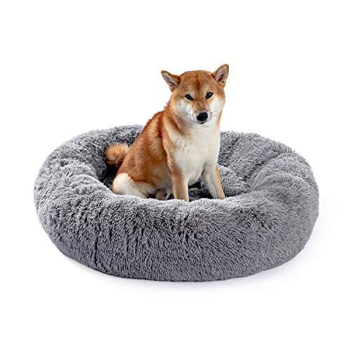 UMI by Amazon Hundebett Plüsch weich warm Donut Haustierbett für Hund Flauschiges kuscheliges Schlafbett Multi-Size-Haustier Sofa für klein-mittelgroße Hunde maschinenwaschbar grau M
