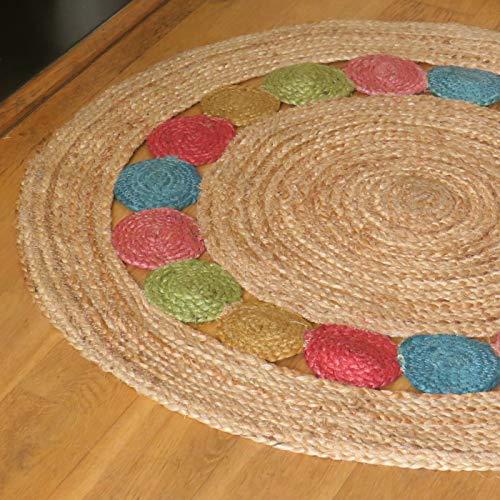 Alfombra redonda de yute de 90 cm con detalle de círculo multicolor