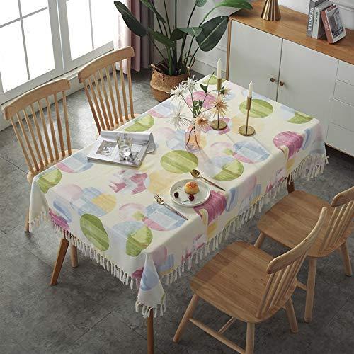 YCZZ Manteles de algodón y Lino, manteles de borlas Simples, Mantel a Prueba de Polvo de Mesa de Centro para el hogar 135x220cm Verde