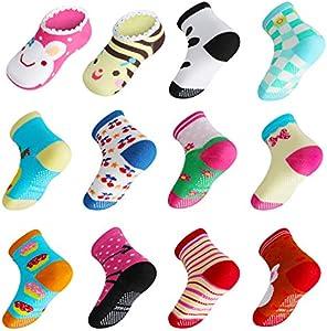 Lictin Calcetines Antideslizantes para Niños-14 Pares Calcetines de Algodón para Bebés Unisex Calcetines Antideslizantes para Niños Diseño Unico Unisex para Bebés de 2-3 Años