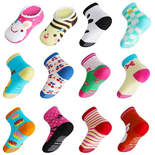Lictin Calcetines Antideslizantes para Niños-14 Pares Calcetines para Bebés Unisex Calcetines Antideslizantes para Niños Diseño Unico Unisex para Bebés de 2-3 Años