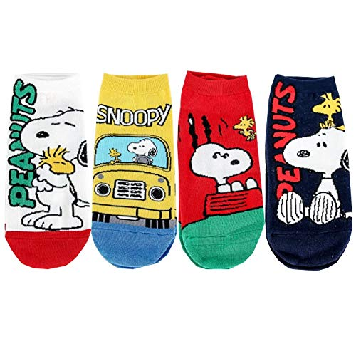 Die Peanuts Comics Charakter Kinder Knöchel Socken 4 Paaren - Snoopy, Woodstock Sneakersocken