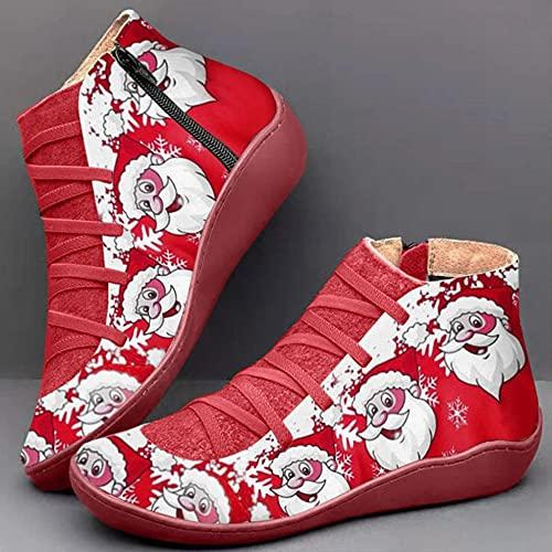 Zapatos de Navidad de Cuero de Tobillo de Bota de Tenis Atlético Zapatillas de Deporte de Invierno Zapatos de Correr Santa Claus Muñeco