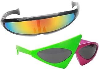 Fityle 2pcs/Set Vintage Unisex Roy Purdy Sunglasses Rainbow Futuristic Alien Glasses Hip Hop Costume Party Props