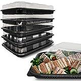 ebake Contenitori per Alimenti riutilizzabili, contenitori di plastica con Coperchio Trasparente, contenitori per Sushi - Confezione da 5 Pezzi (33,5 cm x 24 cm)