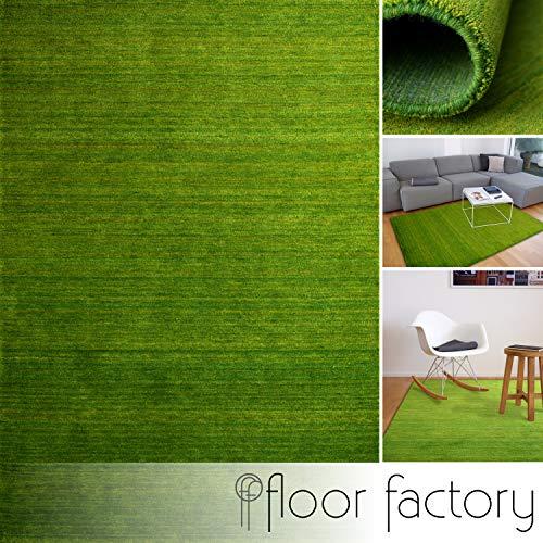 floor factory Gabbeh Teppich Karma grün 140x200 cm - handgefertigt aus 100% Schurwolle
