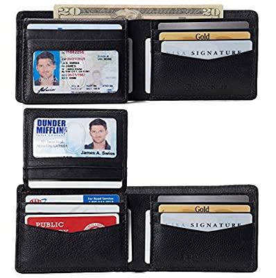 Alpine Swiss RFID Connor Passcase Bifold Wallet For Men Leather York Collection Soft Nappa Black