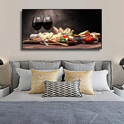 HSFFBHFBH Küche Rotwein Essen Leinwand Gemälde Bilder für Wohnzimmer Cafe Esszimmer Restaurant Home Wand Innendekor Kunst 80x160cm Ungerahmt