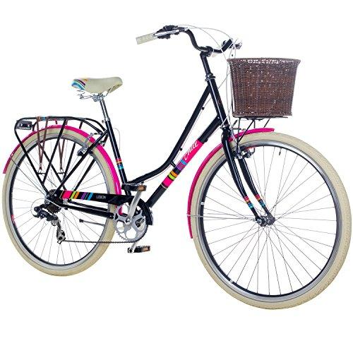 Chill 28 Zoll Damenrad Citybike Fahrrad Hollandrad Damenfahrrad 7 Gang, Rahmengrösse:19 Zoll, Farbe:schwarz/pink