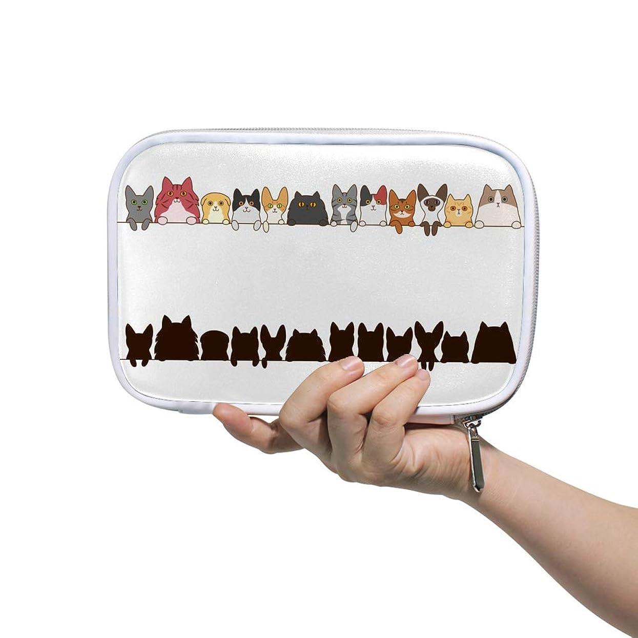 天気ニックネームゴールZHIMI 化粧ポーチ メイクポーチ レディース コンパクト 柔らかい おしゃれ コスメケース 化粧品収納バッグ 可愛い 猫柄 機能的 防水 軽量 小物入れ 出張 海外旅行グッズ パスポートケースとしても適用