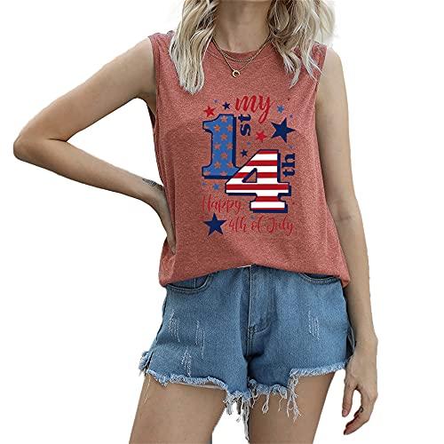 Mayntop Camiseta de manga corta para mujer con diseño de bandera de Estados Unidos con texto en inglés 'God Bless' para el 4 de julio, B-Rust Red, 46