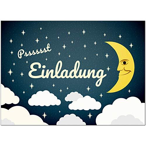 16 Einladungskarten zum Kindergeburtstag Motiv: Wolken und Mond/Übernachtungsparty - Einladungen für Kinder zum Geburtstag im Set
