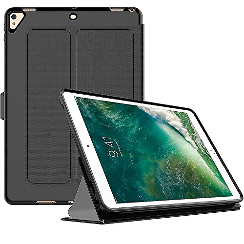 HomeViro iPad 9.7 Inch iPad 5/6 Generation 2018/2017, iPad Pro 9.7 Inch, iPad Air 2 Ultra Thin Super Light Cover Case with Stand, Flexible Soft TPU Back with Auto Sleep/Wake Function, Black