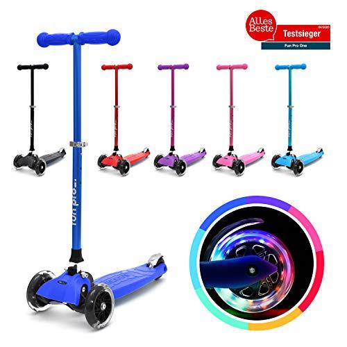 fun pro ONE - der sichere Premium Kinder Roller, LED Räder, faltbar, ab 2 Jahre (Kickboard, Tretroller), TÜV geprüft (Marine)