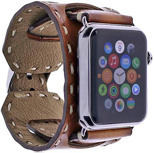 Burkley Leder Armband für Apple Watch 1/2 / 3/4 / 5/6 Uhrenarmband in breiter Ausführung mit Dornverschluss kompatibel mit Apple Watch 42/44mm (Sattel Braun)