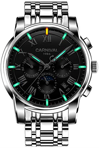 Men's Complications Automatic Mechanical Watch Military Tritium Gas Super Bright Blue or Green Luminous (Black)