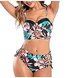 TUDUZ Bikini de Mujer Verano Bohemio Ropa de Baño en Dos Piezas Bañador de Baño Conjunto de Bañador Conjuntos de Bikinis Adecuado Viajes Vacaciones Playa Natacion Fiesta(B Negro,XL)