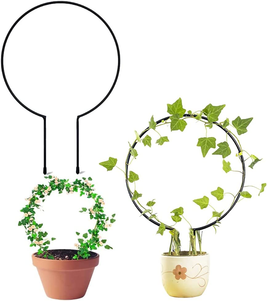 WIILGN 3 Pack Metal DIY Trellis Climbing Plants Outdoor Potted Green Plant Supports for Outdoor Plants Stand Flower Pot Holder Support Garden Stake,23x37x0.28CM Plant Cages Vine Rack (Round Shaped)