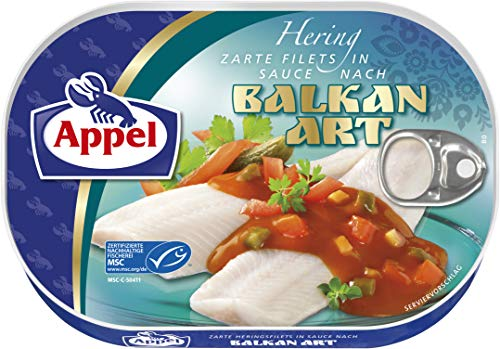 Appel Heringsfilets in Balkan-Sauce, 10er Pack Konserven, Fisch in Balkansauce