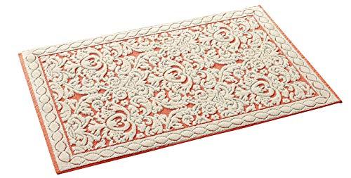 HomeLife Tappeto Cucina in Cotone Lavabile Made in Italy [60X120]   Passatoia Corridoio Moderna   Elegante Tappetino Scendiletto Casa Runner Beige e Disegno Corallo Rosso [60X120, Beige/Bordeaux]