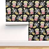 Spoonflower Peel and Stick Removable Wallpaper, Snacks Theater Cinema Tickets Home Theater Popcorn Movie-Reel Print, Self-Adhesive Wallpaper 24in x 36in Roll