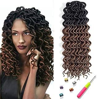 Mirra's Mirror Curly Faux Locs Crochet Hair Pre-looped Deep Faux Locs Hair Extension 12inch 6Packs Braiding Hair (12inch, OT30)