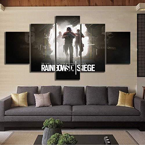 5 Stücke Leinwanddruck Bilder Tom Clancys Rainbow Six Belagerung Gemälde HD Wandkunst Wohnzimmer Haus Dekoration Fertig zum Aufhängen,A,20×35×2+20×45×2+20×55×1