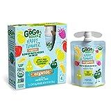 GoGo squeeZ happy tummieZ Organic Apple Pear Yellow Carrot Raspberry, 3.2 oz. (24 Pouches) - Kids Snacks with Prebiotic Fiber - Gluten Free Snacks for Kids - Nut & Dairy Free - Vegan Snacks