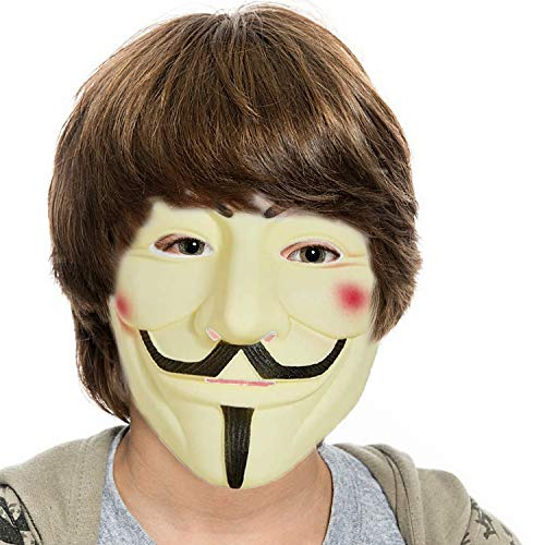 Mask for Costume - Anonymous Face Mask for Halloween V for Vendetta DIY Toy Head Mask (1 Pack Yellow)