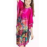 100% Damen Seiden Damennachthemd Lang Hypoallergen Kimono Nachthemd Seide Tunika Negligee Chinesische Feinzeichnung,B-OneSize