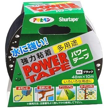 アサヒペン 水に強い 強力粘着 パワーテープ 多用途 48mmX10m ブラック