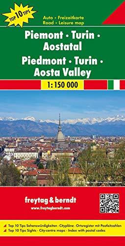 Piemonte 1:150.000: Top 10 Tips Sehenswürdigkeiten / Citypläne / Ortsregister mit Postleitzahlen: AK 0619 (Auto karte)