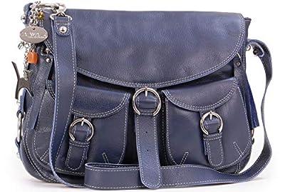 Catwalk Collection Handbags - Cuir Véritable - Sac à Main/Sac Bandoulière/Sac Besace avec Rabat/Sac Porté Croisé - Femme - COURIER - Bleu Marine