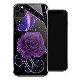 Coque pour iPhone 8 Plus Motif tournesol Papillon iPhone 7 Plus Coque en verre trempé Absorption...