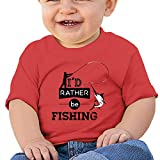 WAYMAY I'd Rather Be Fishing Baby Short-Sleeved 100% Cotton T-Shirt Toddler Round Neck Shirt Red