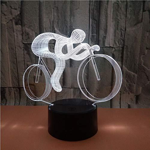 Veilleuse Acrylique Vélo Course Palyer Forme 3D Design Led Night Light Accueil Decora 5V Lampe Changeante Avec Usb Chargeur Chambre Lampe De Table