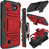 LG Optimus Zone 3 Case, LG K4 Case, LG Spree Case, Zenic Hybrid Dual Layer Armor Defender Full-Body Protective Case Cover with Kickstand & Belt Clip Holster Combo, NOT FIT LG Rebel 3(Red)