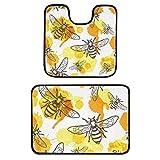 Juego de 2 alfombras de baño – Bee Honey panales antideslizantes alfombrillas de baño lavables de felpa para bañera, ducha, cuarto de baño