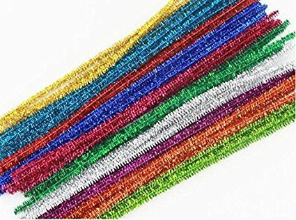 """Ziggle100 Pcs Multicolored 12"""" Glitter Tinsel Craft Pipe Cleaners"""