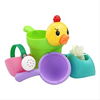Zpong 4Pcs/Set Baby Bath Toys Rubber Lovely Duck Shape Waterwheel Water Spray Set for Baby Shower Swimming Bath Toys Kids ...