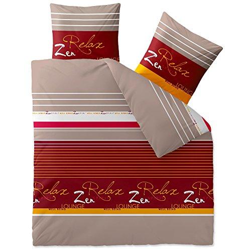 CelinaTex Touchme Bettwäsche 200 x 200 cm 3teilig Baumwolle Bettbezug Biber Mikka Relax Streifen beige grau rot