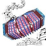 Acordeón de concertina de madera maciza, Concertina estilo inglés Acordeón profesional portátil con correa de mano ajustable y bolsa de transporte Instrumento musical para niños y adultos(Cielo azul)